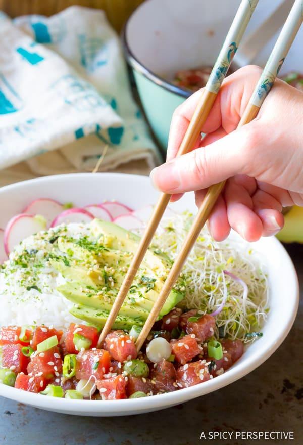 Tuna Poke Bowl #ASpicyPerspective #PokeBowl #AhiPokeBowl #PokeBowlRecipe #TunaPokeBowl #GlutenFree #HawaiianPoke #Summer #Spring #Dinner