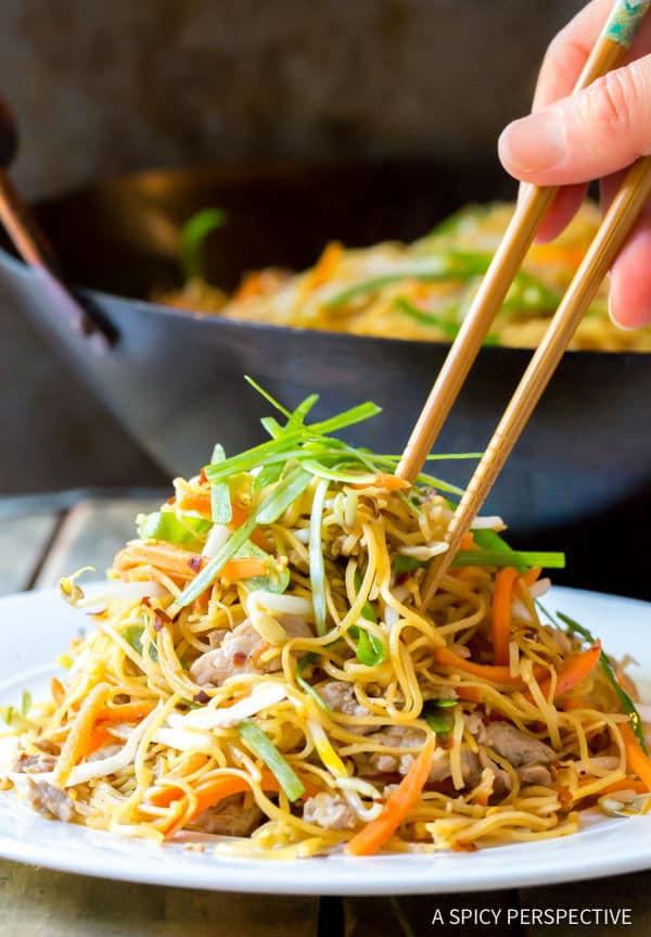 Amazing Cantonese Pan Fried Noodles (Pork Lo Mein) | ASpicyPerspective.com