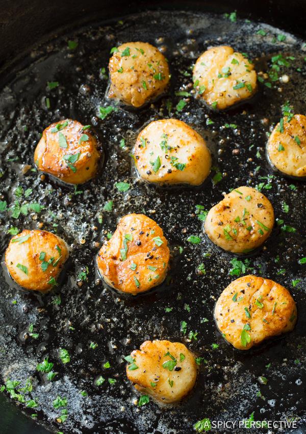 Scallop Recipe #ASpicyPerspective #Scallops #Easy #Fish #PanSearedScallops #HowtoCookScallops #MainDish