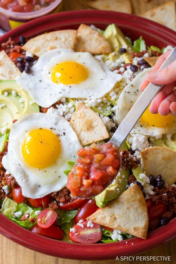 Spicy Mexican Breakfast Salad | ASpicyPerspective.com