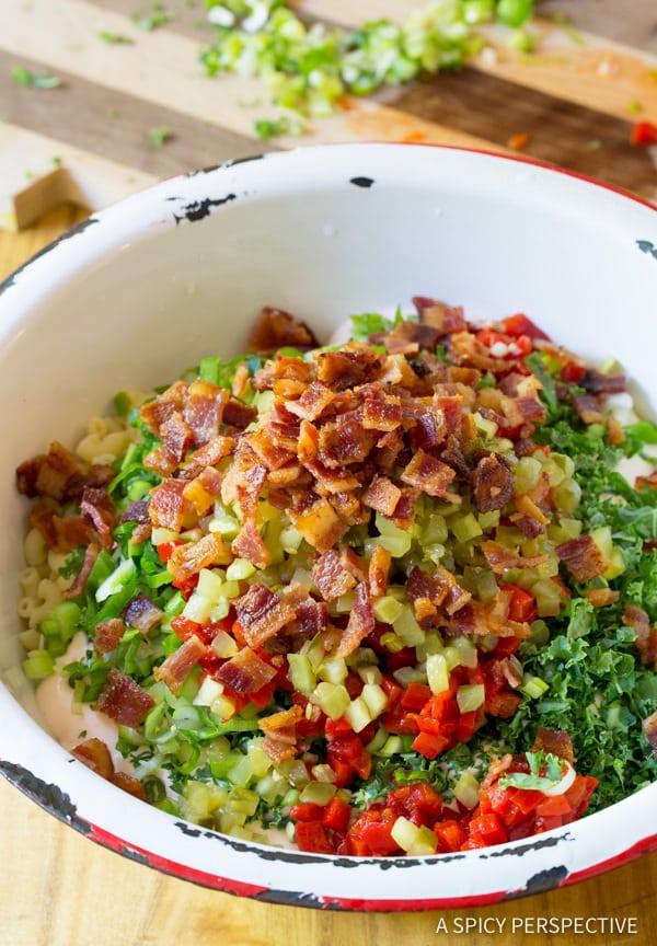 How to Make Macaroni Salad #ASpicyPerspective #MacaroniSalad #PastaSalad #MacSalad #MacaroniSaladRecipe #HowtoMakeMacaroniSalad #PastaSaladRecipe #SideDish #Salad #Healthy