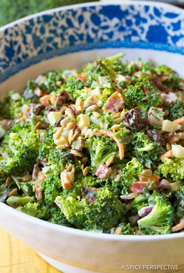 The Best Broccoli Salad Recipe   ASpicyPerspective.com