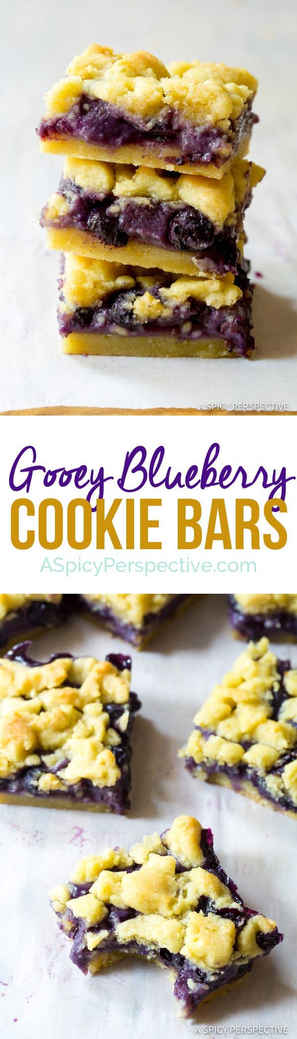 The Best Gooey Blueberry Cookie Bars   ASpicyPerspective.com