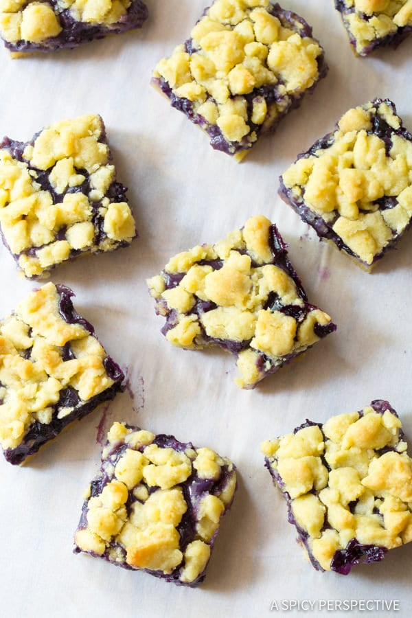 Fresh Gooey Blueberry Bars Recipe   ASpicyPerspective.com