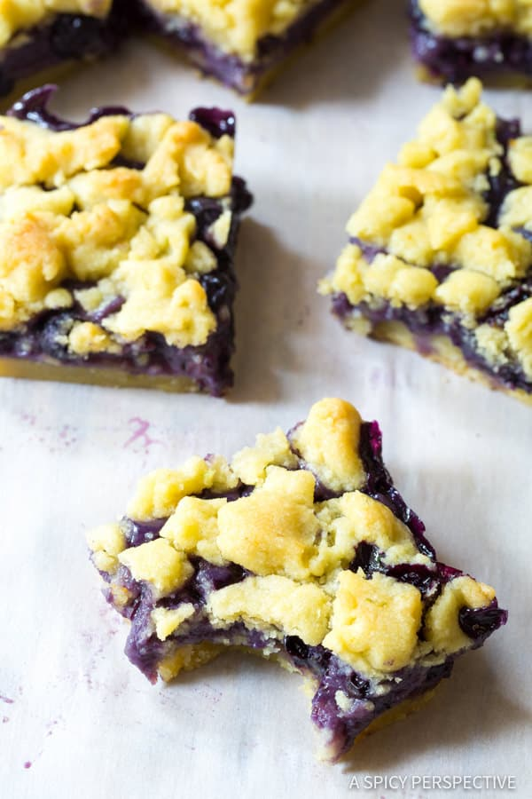 Sweet Gooey Blueberry Bars Recipe   ASpicyPerspective.com