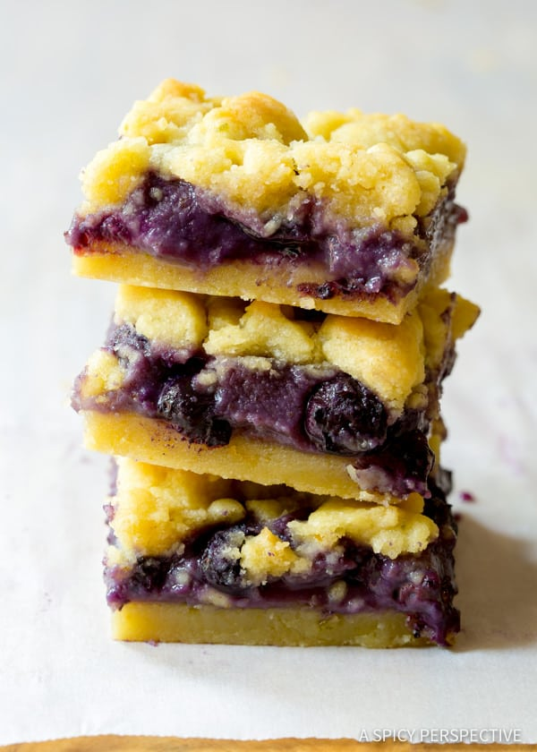 Fresh Gooey Blueberry Cookie Bars   ASpicyPerspective.com