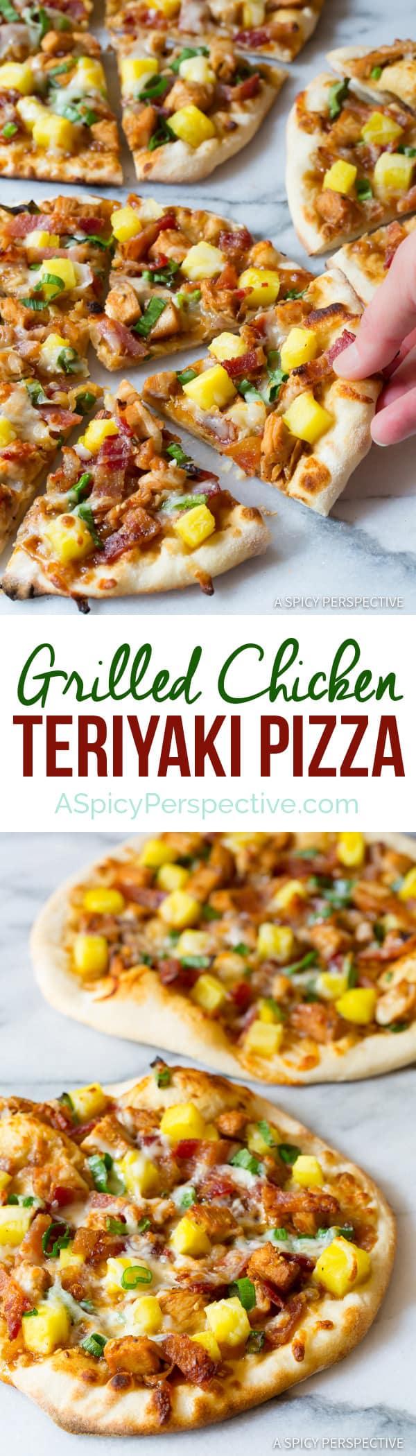 Easy Grilled Chicken Teriyaki Pizza | ASpicyPerspective.com