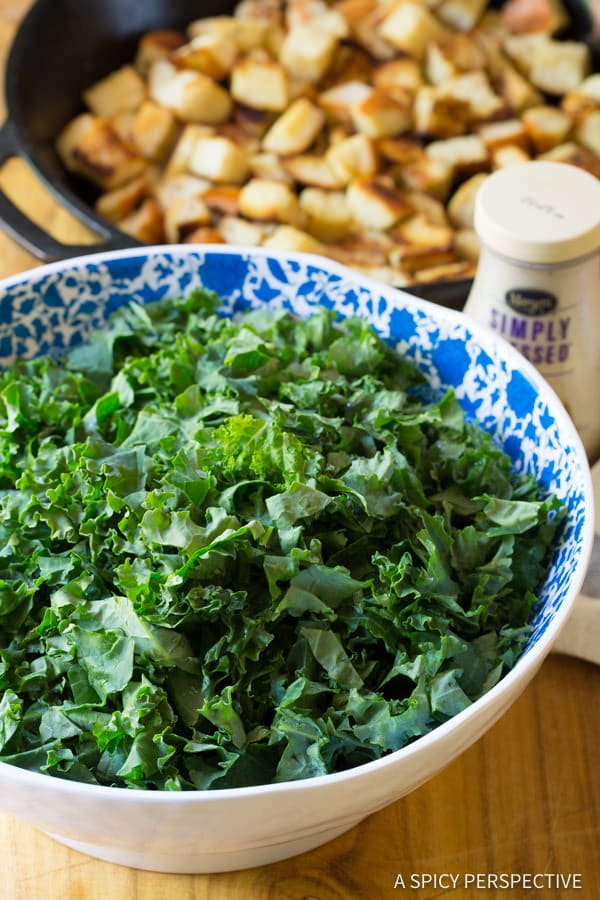 Making Healthy Crunchy Kale Caesar Salad Recipe   ASpicyPerspective.com