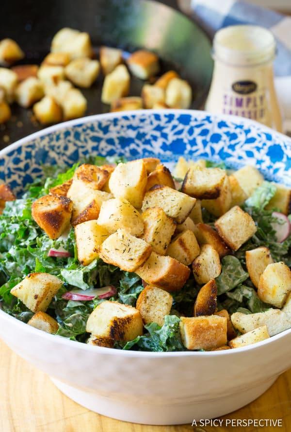 Must-Make Healthy Crunchy Kale Caesar Salad Recipe   ASpicyPerspective.com