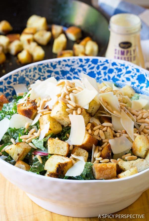 Best Crunchy Kale Caesar Salad Recipe   ASpicyPerspective.com