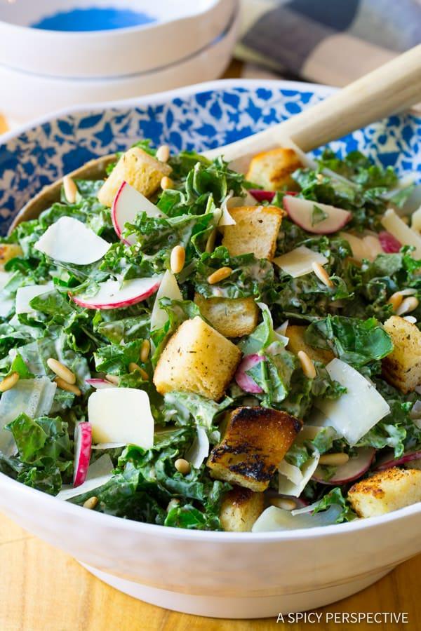 Crunchy Kale Caesar Salad Recipe   ASpicyPerspective.com