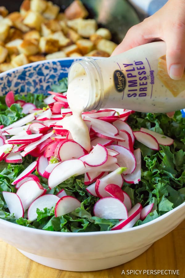 How to Make Healthy Crunchy Kale Caesar Salad Recipe   ASpicyPerspective.com