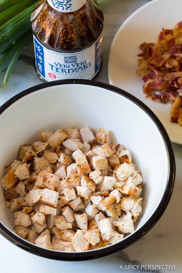 Making Grilled Chicken Teriyaki Pizza | ASpicyPerspective.com