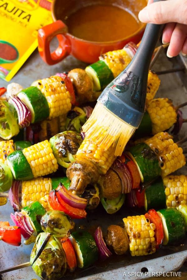 Grilled Vegetable Kabobs with Fajita Butter #ASpicyPerspective #Kabobs #Vegetables #GrilledVegetables #GrilledVegetableKabobs #SummerVegetable #Summer #HowtoGrillVegetables #Fajita #FajitaButter #Skewers #SideDish #VegetableSkewers
