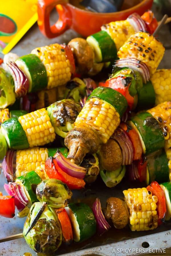 Grilled Vegetables #ASpicyPerspective #Kabobs #Vegetables #GrilledVegetables #GrilledVegetableKabobs #SummerVegetable #Summer #HowtoGrillVegetables #Fajita #FajitaButter #Skewers #SideDish #VegetableSkewers