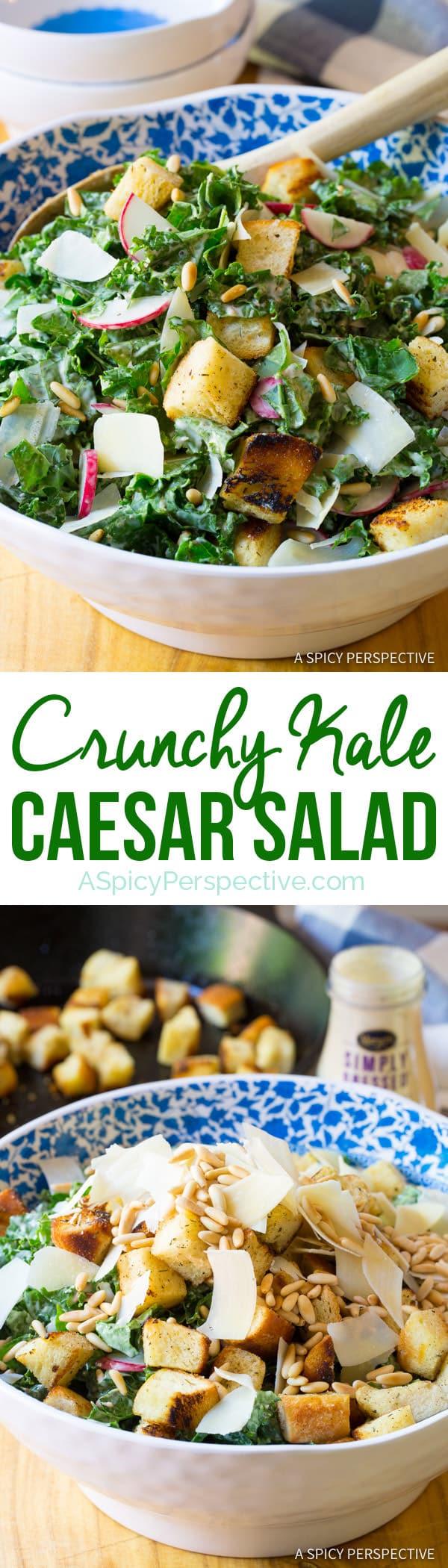 Healthy Crunchy Kale Caesar Salad Recipe   ASpicyPerspective.com