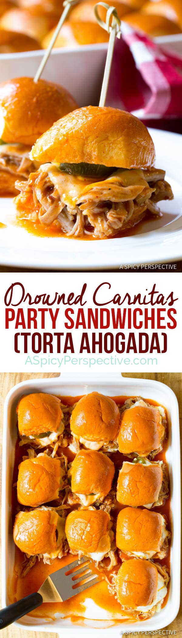 Amazing Drowned Carnitas Party Sandwiches (Torta Ahogada)   ASpicyPerspective.com