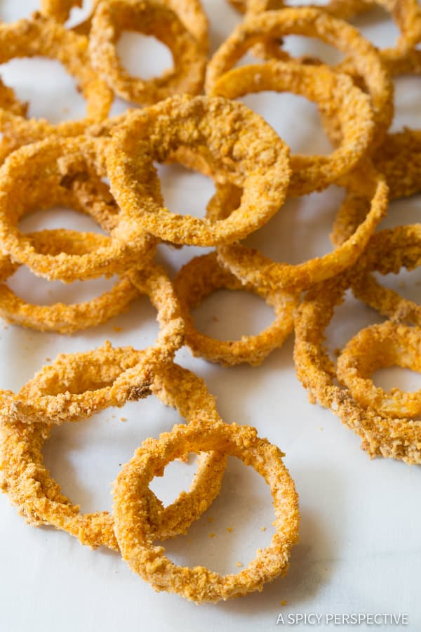 The Best Zesty Baked Onion Rings Recipe | ASpicyPerspective.com