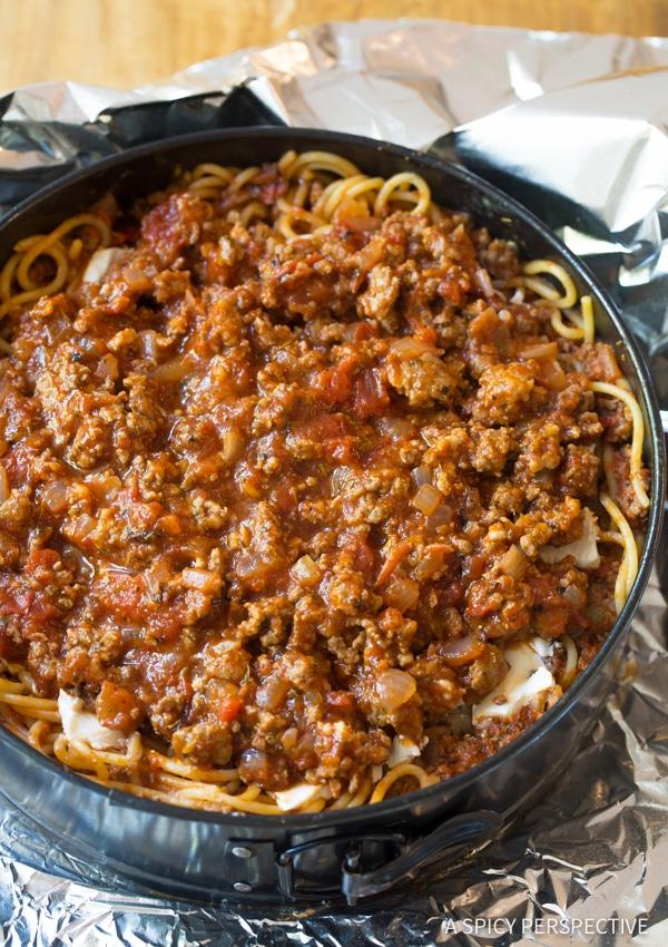 Amazing Baked Spaghetti Pie Recipe | ASpicyPerspective.com #retro