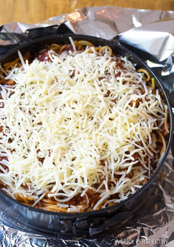 Retro Recipe: Baked Spaghetti Pie Recipe | ASpicyPerspective.com #retro