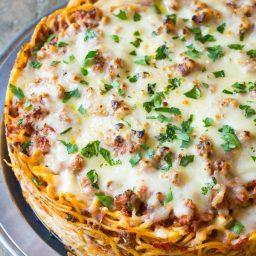 Baked Spaghetti Pie Recipe | ASpicyPerspective.com #retro