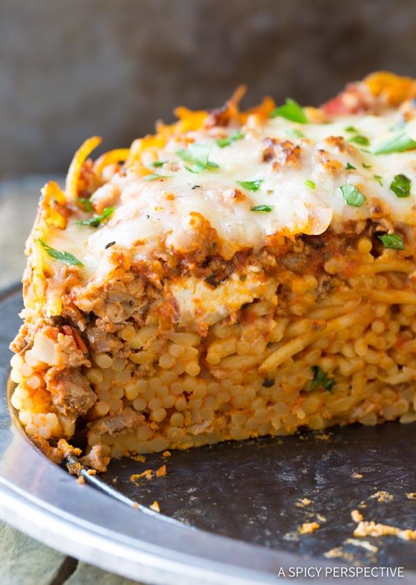 Freezer Meal: Baked Spaghetti Pie Recipe | ASpicyPerspective.com #retro
