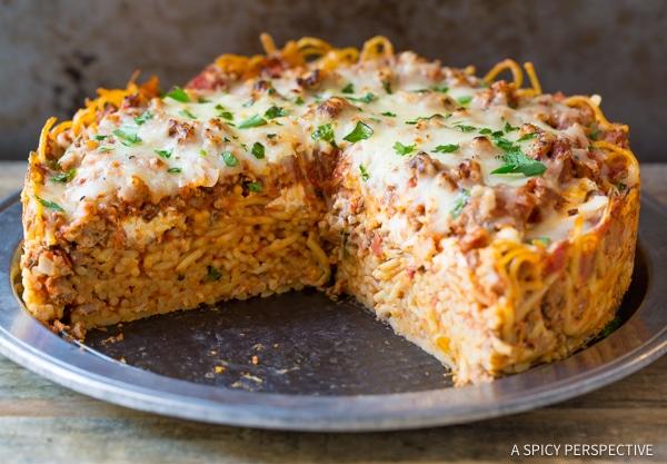 Best Baked Spaghetti Pie Recipe | ASpicyPerspective.com #retro
