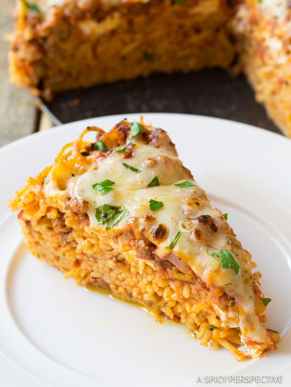 Fabulous Baked Spaghetti Pie Recipe | ASpicyPerspective.com #retro