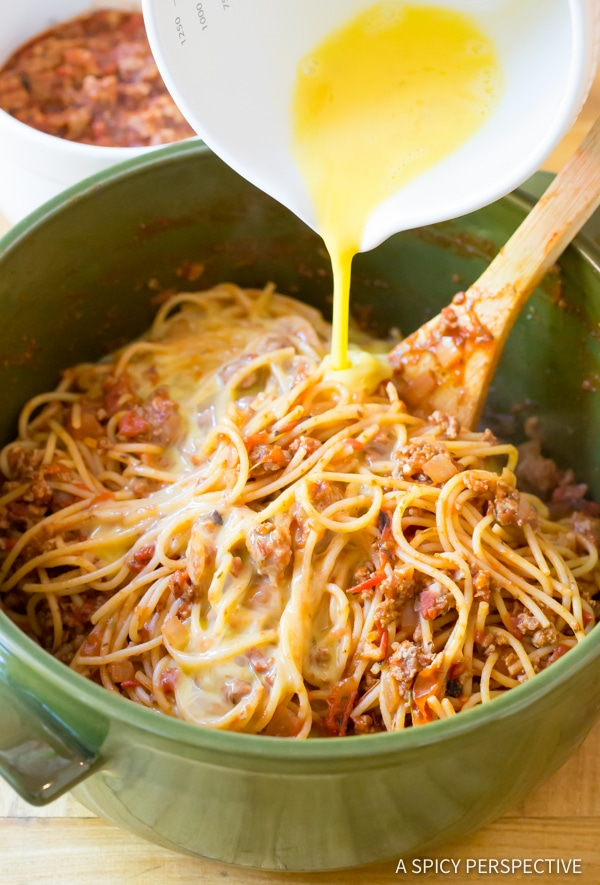 Easy Baked Spaghetti Pie Recipe | ASpicyPerspective.com #retro