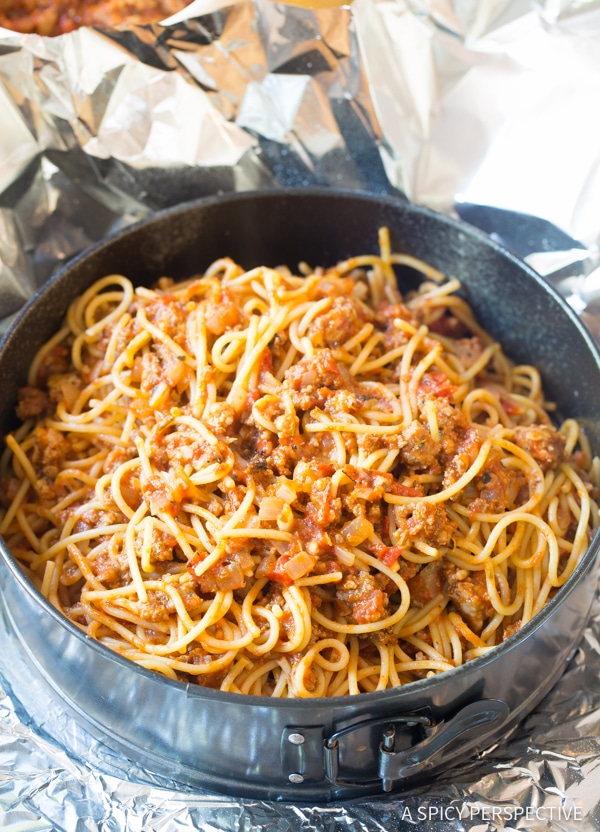 Simple Baked Spaghetti Pie Recipe | ASpicyPerspective.com #retro