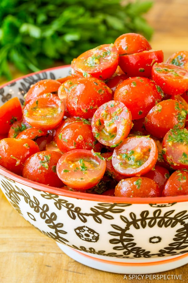 Perfect Chimichurri Tomato Salad | ASpicyPerspective.com