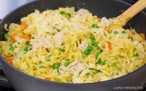 Simple One-Pot Chicken Noodle Casserole | ASpicyPerspective.com