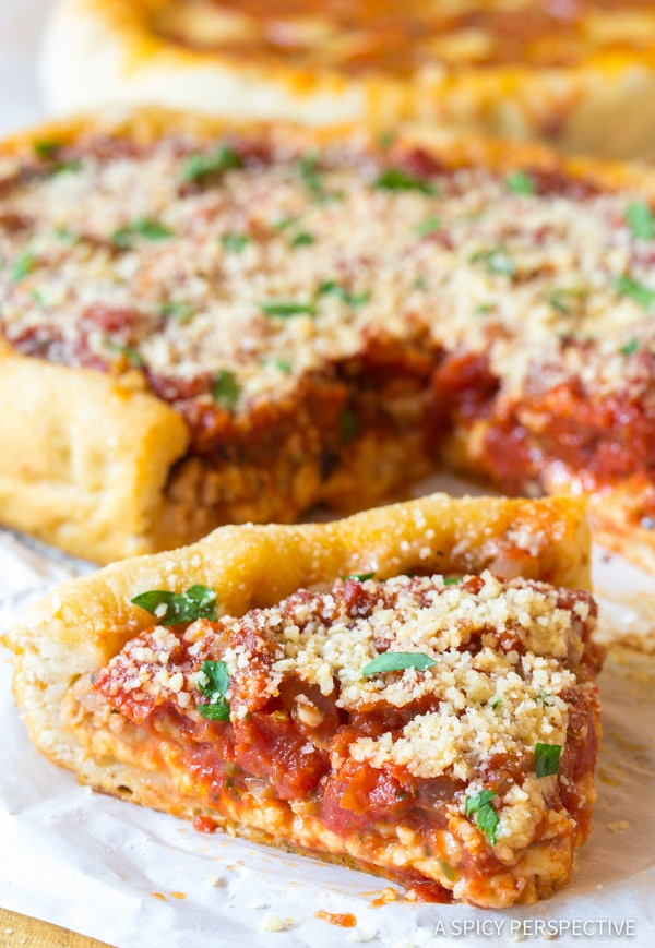 Perfect Slow Cooker Deep Dish Pizza Recipe (Chicago Style!) | ASpicyPerspective.com