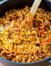 Cozy One-Pot Sloppy Joe Noodle Skillet (Gluten Free!) | ASpicyPerspective.com