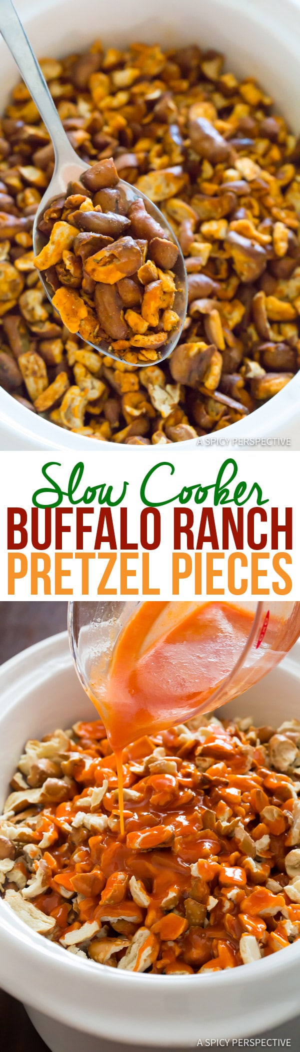 4-Ingredient Slow Cooker Buffalo Ranch Pretzel Pieces (+Oven Instructions) | ASpicyPerspective.com