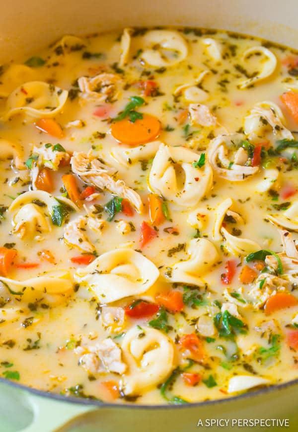 Chicken Tortellini Soup #ASpicyPerspective