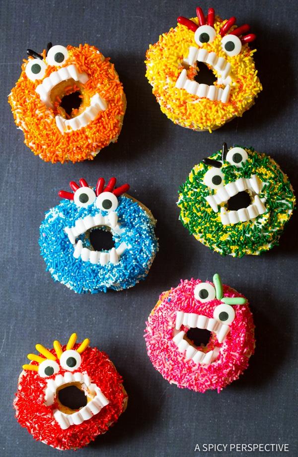 Festive Halloween Monster Donuts | ASpicyPerspective.com