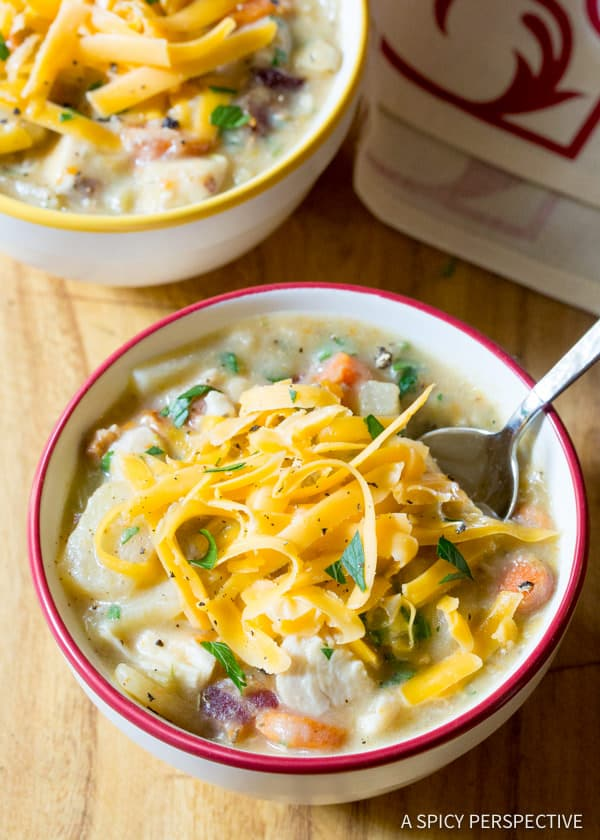 Healthy Crockpot Potato Soup with Chicken