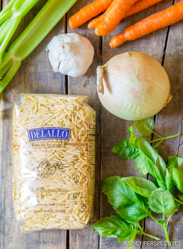 Making Italian Chicken Orzo Soup (Healthy and Delicious!) | ASpicyPerspective.com