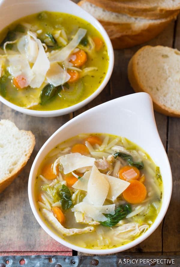 Easy Italian Chicken Orzo Soup (Healthy and Delicious!) | ASpicyPerspective.com