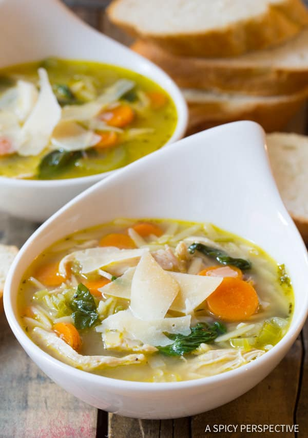 Favorite Italian Chicken Orzo Soup (Healthy and Delicious!) | ASpicyPerspective.com