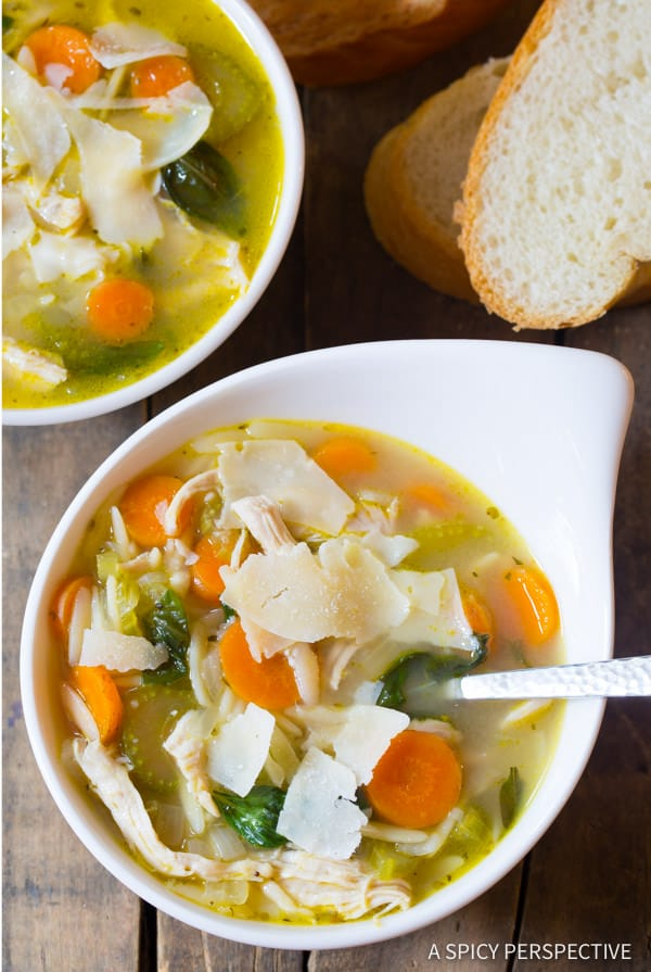 The Best Italian Chicken Orzo Soup (Healthy and Delicious!) | ASpicyPerspective.com