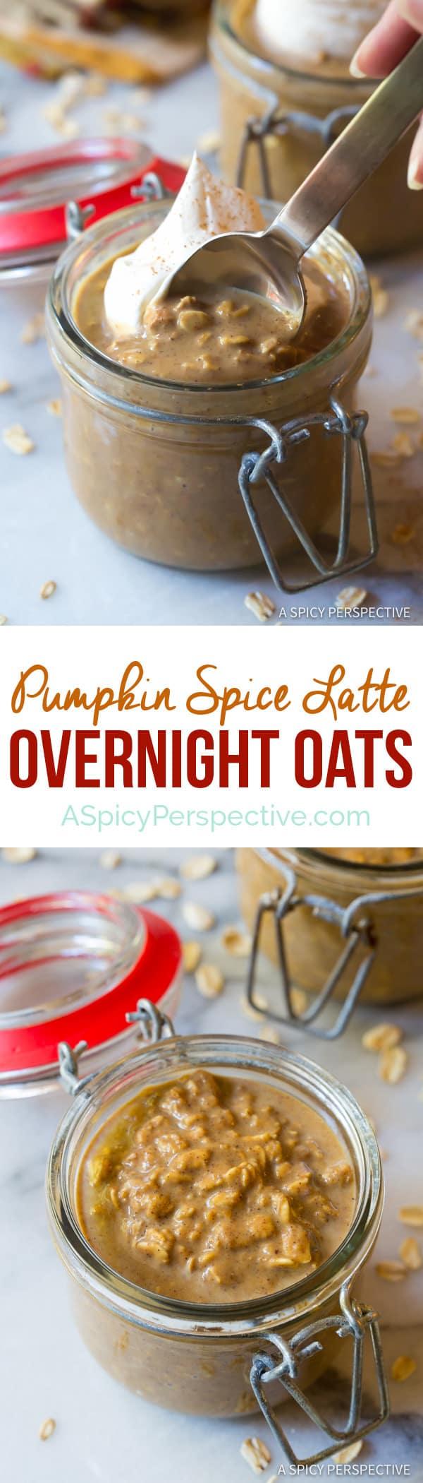 Easy Pumpkin Spice Latte Overnight Oatmeal Recipe   ASpicyPerspective.com