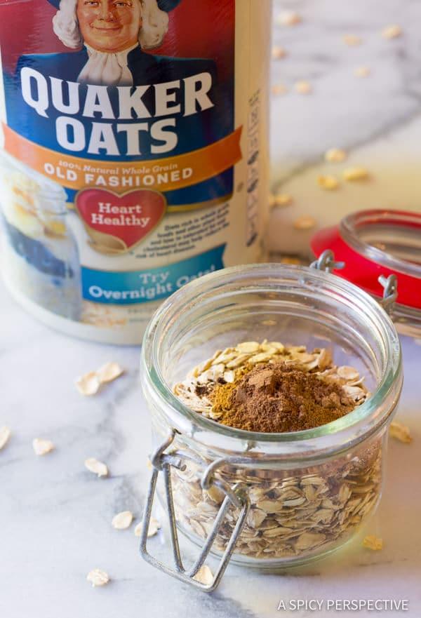 Making Pumpkin Spice Latte Overnight Oatmeal Recipe   ASpicyPerspective.com