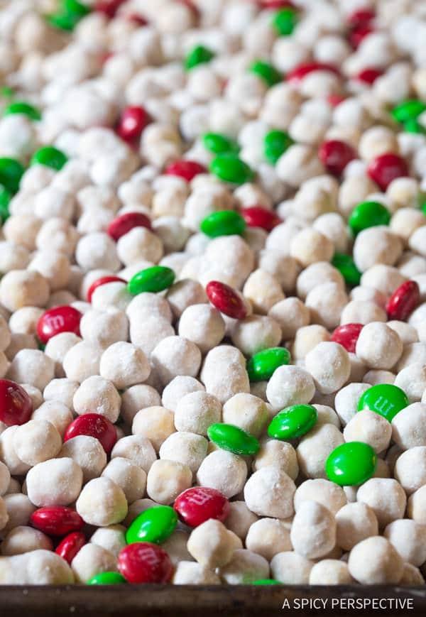 6-Ingredient Snowball Party Mix | ASpicyPerspective.com #christmas #ediblegifts