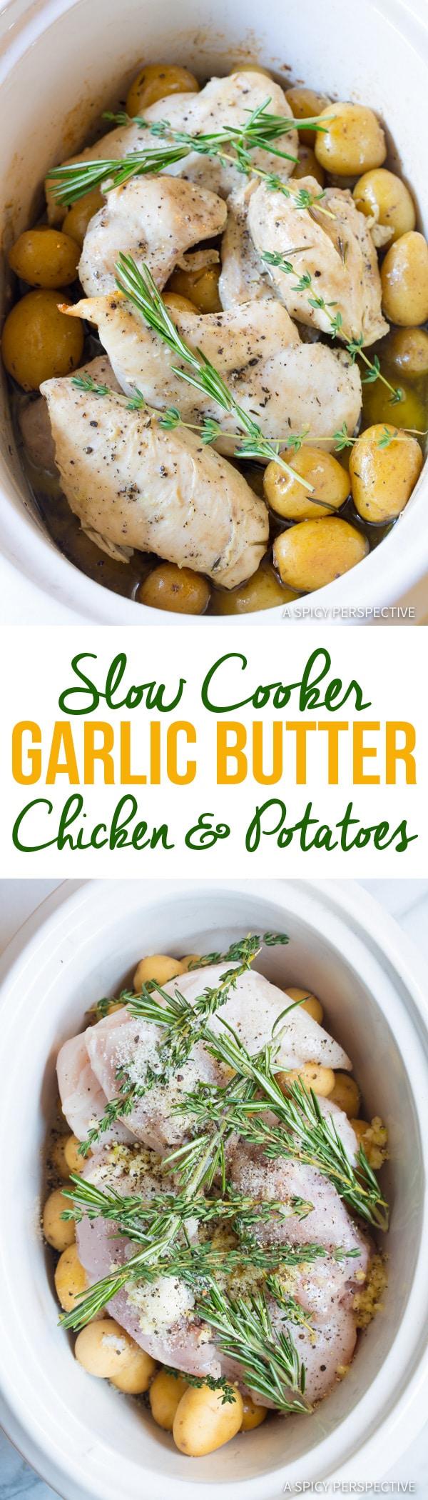 Cozy Slow Cooker Garlic Butter Chicken and Potatoes | ASpicyPerspective.com