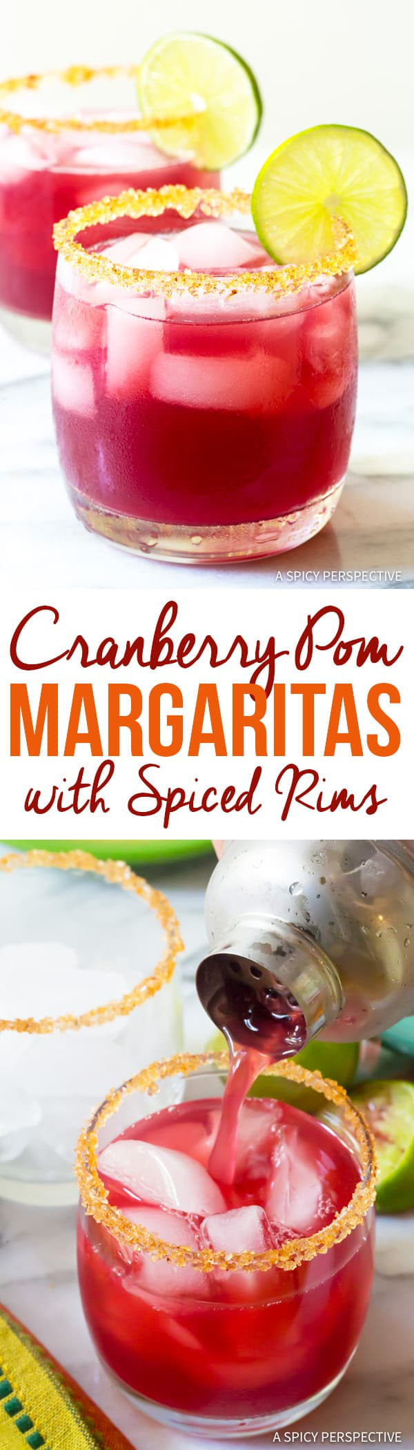 Dazzling Cranberry Pomegranate Margarita with Spiced Rim Recipe | ASpicyPerspective.com