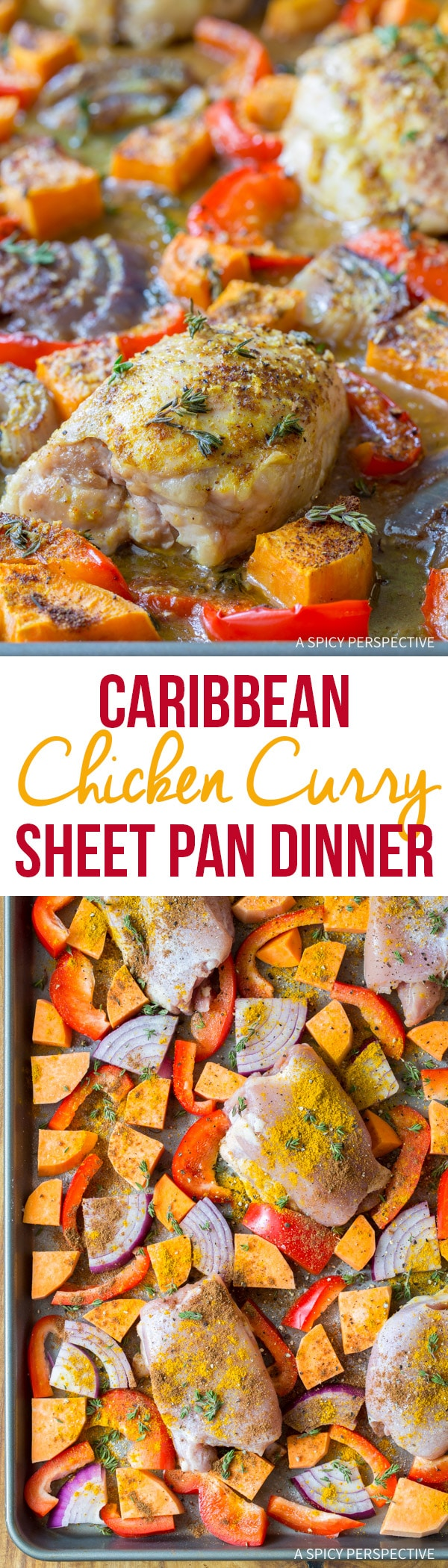 Easy Healthy Caribbean Chicken Curry Sheet Pan Dinner (Low Carb, Gluten Free, and Dairy Free!)