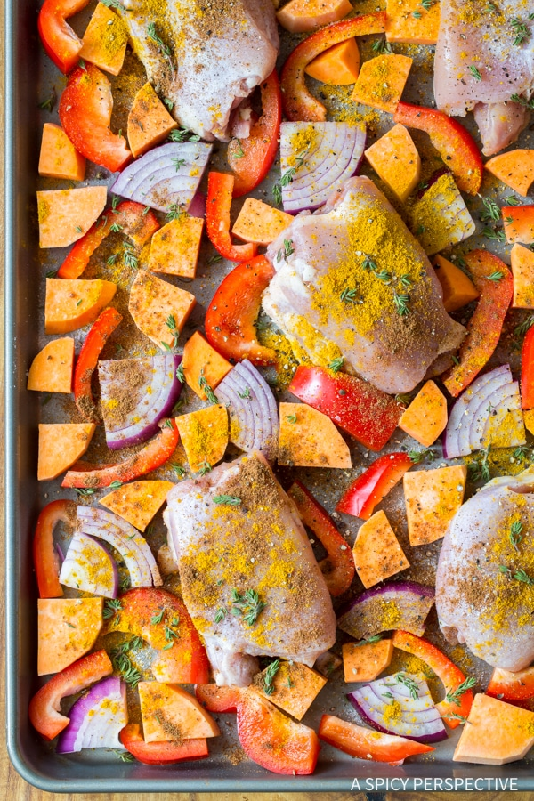 Making Healthy Caribbean Chicken Curry Sheet Pan Dinner (Low Carb, Gluten Free, and Dairy Free!)