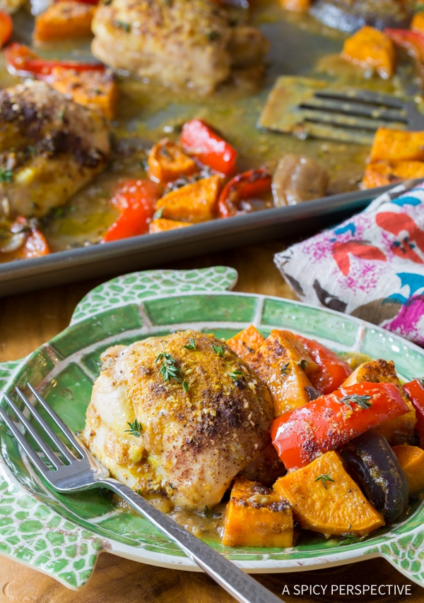 Bold Healthy Caribbean Chicken Curry Sheet Pan Dinner (Low Carb, Gluten Free, and Dairy Free!)